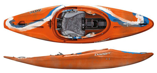 Dagger Axiom Whitewater kayak in River Outfitting in Blaze colour scheme