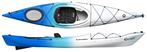 Percption Expression 11 Lightweight Touring Kayak Sea Spray Blue & White