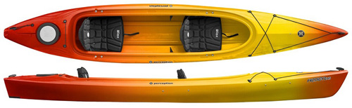 Perception Prodigy II 14.5 Tandem Touring Kayak With Large Open Cockpit Sunset