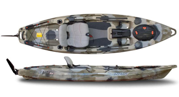 Feelfree Lure Stable Fishing Sit On Top Kayaks With Height Adjustable Seating System & On The Water Stand Up Casting Pad